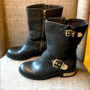Vince Camuto Winchell Black Leather Moto Boots 6.5